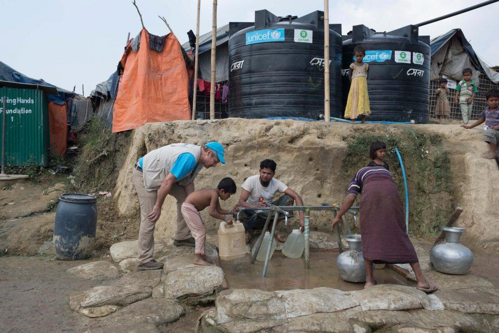 water wells in a Rohinga refugee camp
