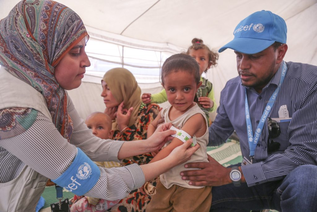 UNICEF Staff respond to the needs of children displaced by conflict in Syria.