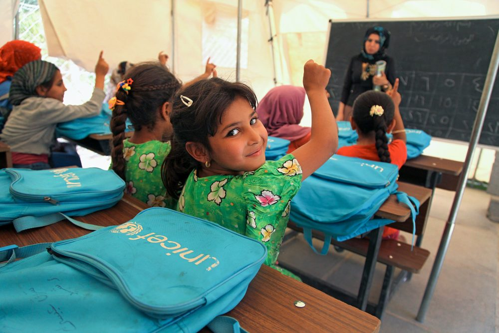 Girls in a UNICEF supported temporary school in Iraq.