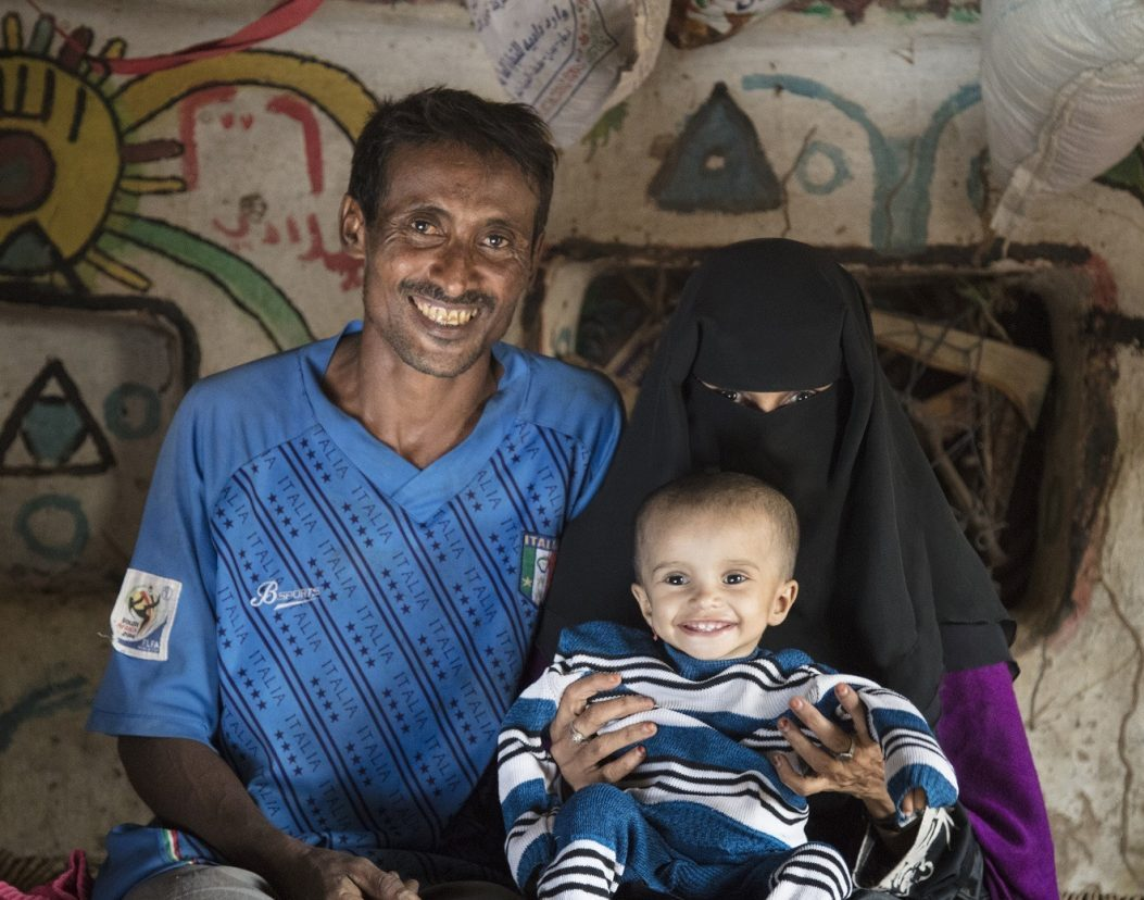Baby Doa'a happy and healthy after recovering from malnutrition in Yemen.