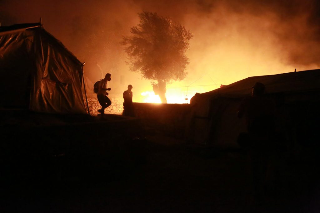 fire refugee camp lesbos