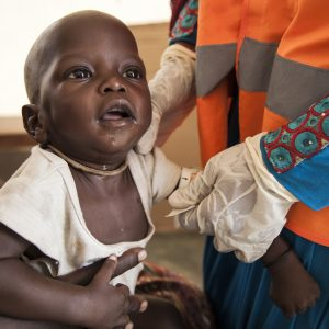 On 17th November 2016, 7 month old Umara Bukar is assessed for malnutrition by a UNICEF Nutrition Officer at a UNICEF supported health clinic northeast Nigeria.