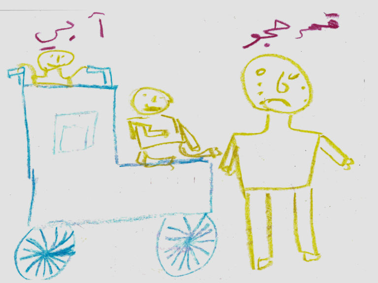 "A drawing by Amar, 12, who was displaced with her family in 2012 from Al-Yarmouk camp, which was home to the largest Palestinian refugee population in Syrian Arab Republic before the war, Damascus, Syrian Arab Republic, December 2016. After Amar's two brothers disappeared, her father suffered a stroke, rendering him unable to move or speak. ""This drawing shows my mother pushing my father on his wheelchair and me crying besides them. It makes me so sad to see my father unable to do anything on his own. I miss him talking to me,"" says Amar. No child is spared the horror of the war in the Syrian Arab Republic, where children come under attack on a daily basis. Violence is everywhere, ripping apart places that children thought were safe - places that should be safe: schools, hospitals, playgrounds, public parks and children's own homes. Children have paid the heaviest price in this six-year war and their suffering hit rock bottom in 2016 in a drastic escalation of violence, according to a UNICEF report published in March 2017. UNICEF-supported psychosocial support programmes reached 509,857 children in 2016. The programmes, which are designed to help children cope with the horror and trauma they have experienced, encourage children to participate and engage in a range of activities – including drawing. It is through these drawings that the children depict their experiences, as well as their wishes and hopes for a better future."