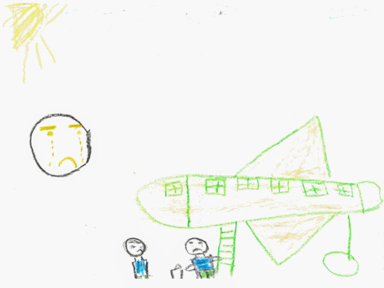 "A drawing by Aya, 11, who was displaced with her family from Al-Yarmouk camp, which was home to the largest Palestinian refugee population in Syria before the war, Damascus, Syrian Arab Republic, December 2016. Aya's father left Syria for Egypt to work and provide for the family almost five years ago and Aya hasn't seen him since. ""I drew myself seeing my father off at the airport, it's my saddest memory. I look at a photo of him every night so I don't forget what he looks like,"" says Aya. No child is spared the horror of the war in the Syrian Arab Republic, where children come under attack on a daily basis. Violence is everywhere, ripping apart places that children thought were safe - places that should be safe: schools, hospitals, playgrounds, public parks and children's own homes. Children have paid the heaviest price in this six-year war and their suffering hit rock bottom in 2016 in a drastic escalation of violence, according to a UNICEF report published in March 2017. UNICEF-supported psychosocial support programmes reached 509,857 children in 2016. The programmes, which are designed to help children cope with the horror and trauma they have experienced, encourage children to participate and engage in a range of activities – including drawing. It is through these drawings that the children depict their experiences, as well as their wishes and hopes for a better future."