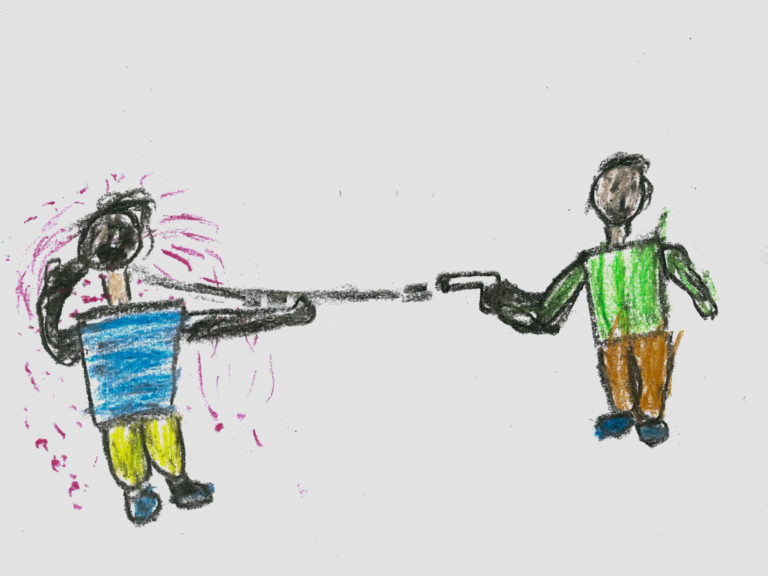 "A drawing by Khalil, 11, who was displaced with his family in 2012 from Al-Yarmouk camp, which was home to the largest Palestinian refugee population in Syrian Arab Republic before the war, Damascus, Syria, December 2016. ""I drew an armed man shooting an innocent man because I know a lot of people who died since the beginning of the war,"" says Khalil. No child is spared the horror of the war in the Syrian Arab Republic, where children come under attack on a daily basis. Violence is everywhere, ripping apart places that children thought were safe - places that should be safe: schools, hospitals, playgrounds, public parks and children's own homes. Children have paid the heaviest price in this six-year war and their suffering hit rock bottom in 2016 in a drastic escalation of violence, according to a UNICEF report published in March 2017. UNICEF-supported psychosocial support programmes reached 509,857 children in 2016. The programmes, which are designed to help children cope with the horror and trauma they have experienced, encourage children to participate and engage in a range of activities – including drawing. It is through these drawings that the children depict their experiences, as well as their wishes and hopes for a better future."