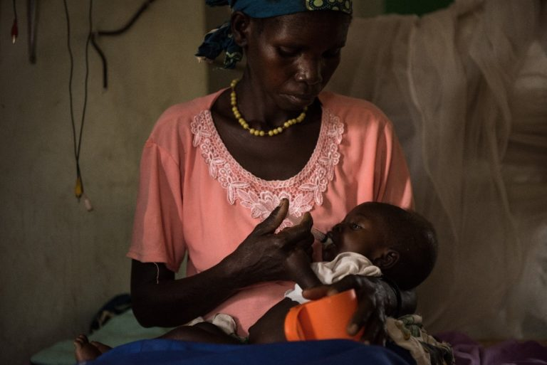Simon is fed therapeutic milk by his mother Jane in the malnutrition ward in the Al-Sabbah children's hospital in Juba, South Sudan.